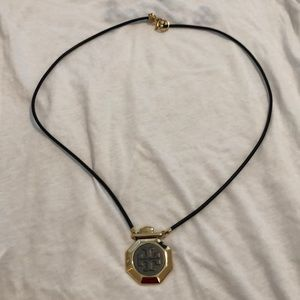 Gold Tory Burch medallion necklace
